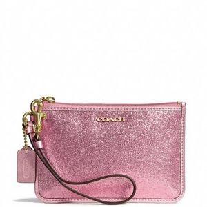 Coach wristlet glitter pink